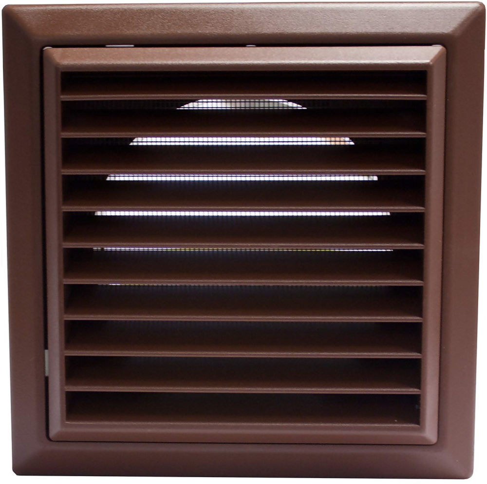100mm Wall Outlet with Louvred Grille Brown 44954B