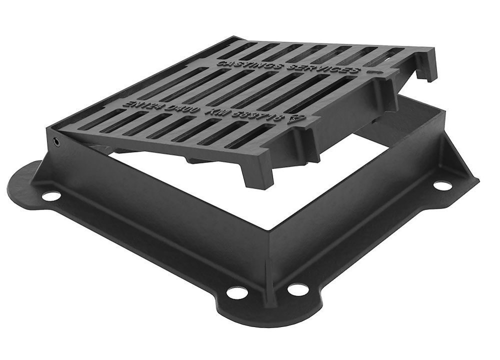 430x370x100mm D400 Loading *Kitemarked BS EN124* Ductile Iron Gully Grate And Frame. End Hinged Ref GDD4337EH10/T