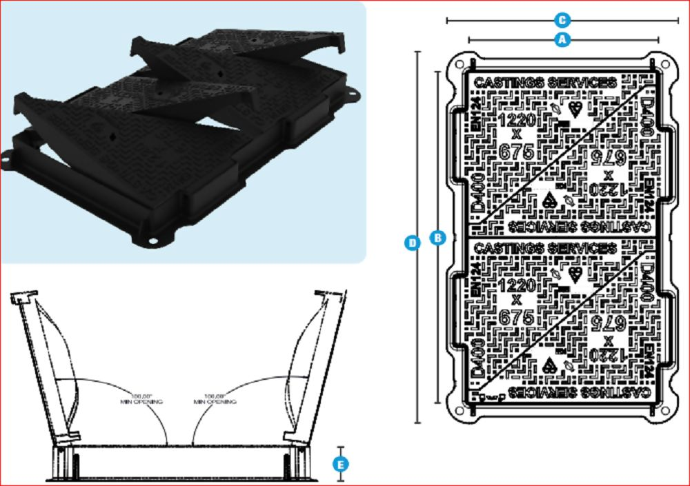 1220x675x100mm D400 Ductile Iron Hinged Cover & Frame Ref MDD12067DT10/T