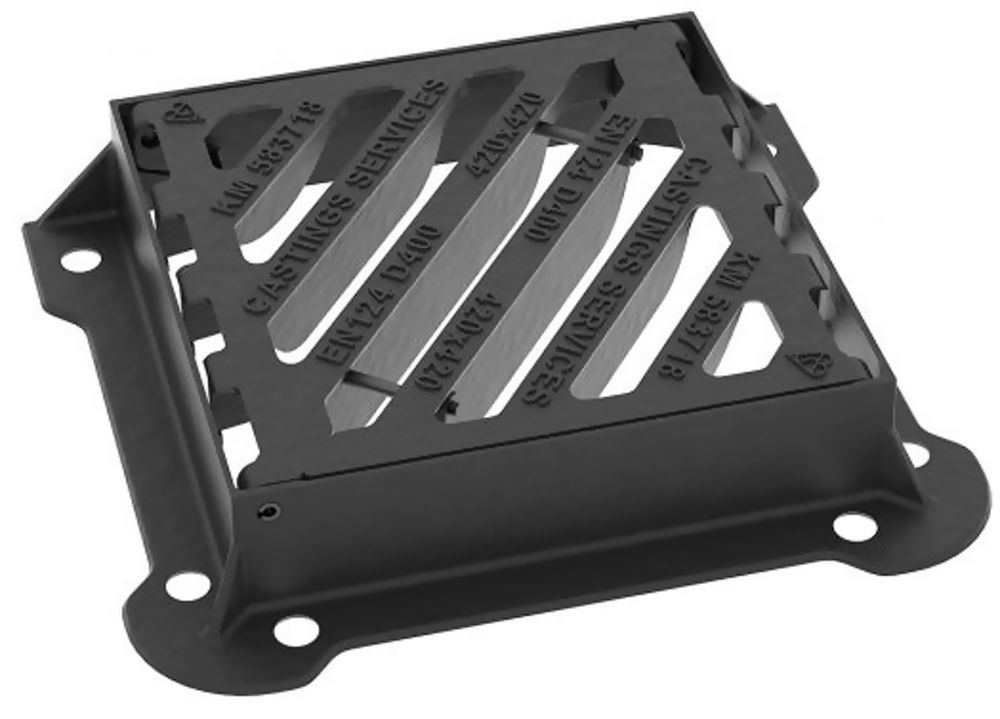 420X420X100 D400 Loading *Kitemarked BS EN124* Ductile Iron Gully Grate And Frame End Hinged Ref GDD4242EH10/T