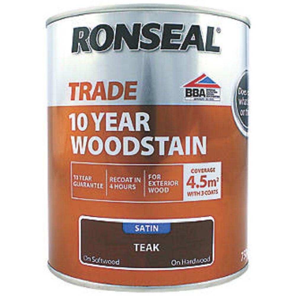 Ronseal Trade 10 Year Woodstain Teak 750Ml Ref 38697