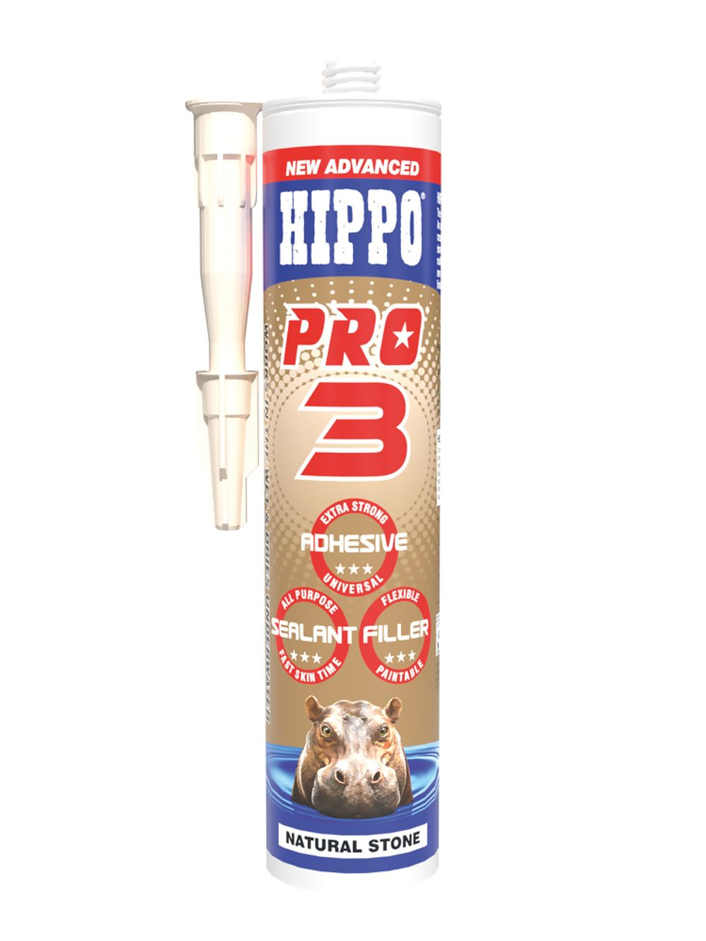 Hippo Pro 3 All Weather Sealant, Adhesive & Filler Natural 310ml Ref H18515