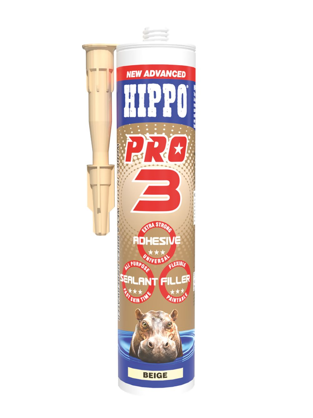Hippo Pro 3 All Weather Sealant, Adhesive & Filler Beige 310ml Ref H18519