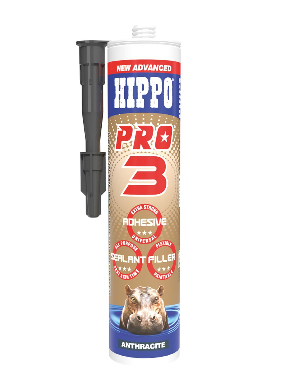 Hippo Pro 3 All Weather Sealant, Adhesive & Filler Anthracite 310ml Ref H18548