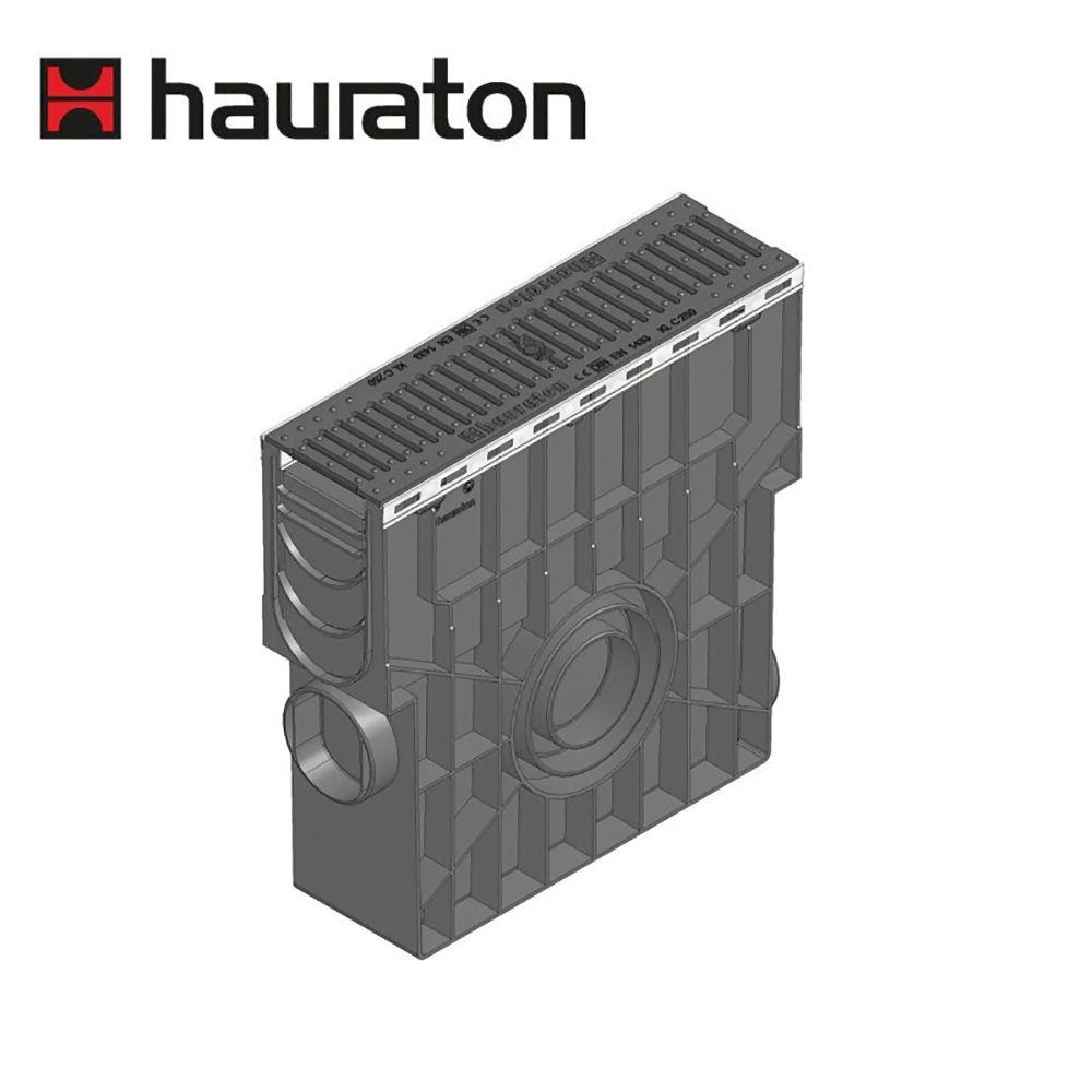 Hauraton Recyfix Plus 100 Channel Drain 500mm Trash Box C/W Heelsafe D400 Ductile Grating Ref 40393