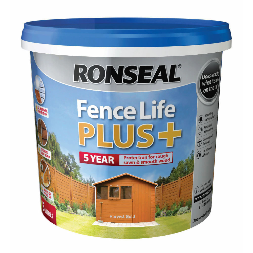 Ronseal Fence Life Plus 5ltr Harvest Gold