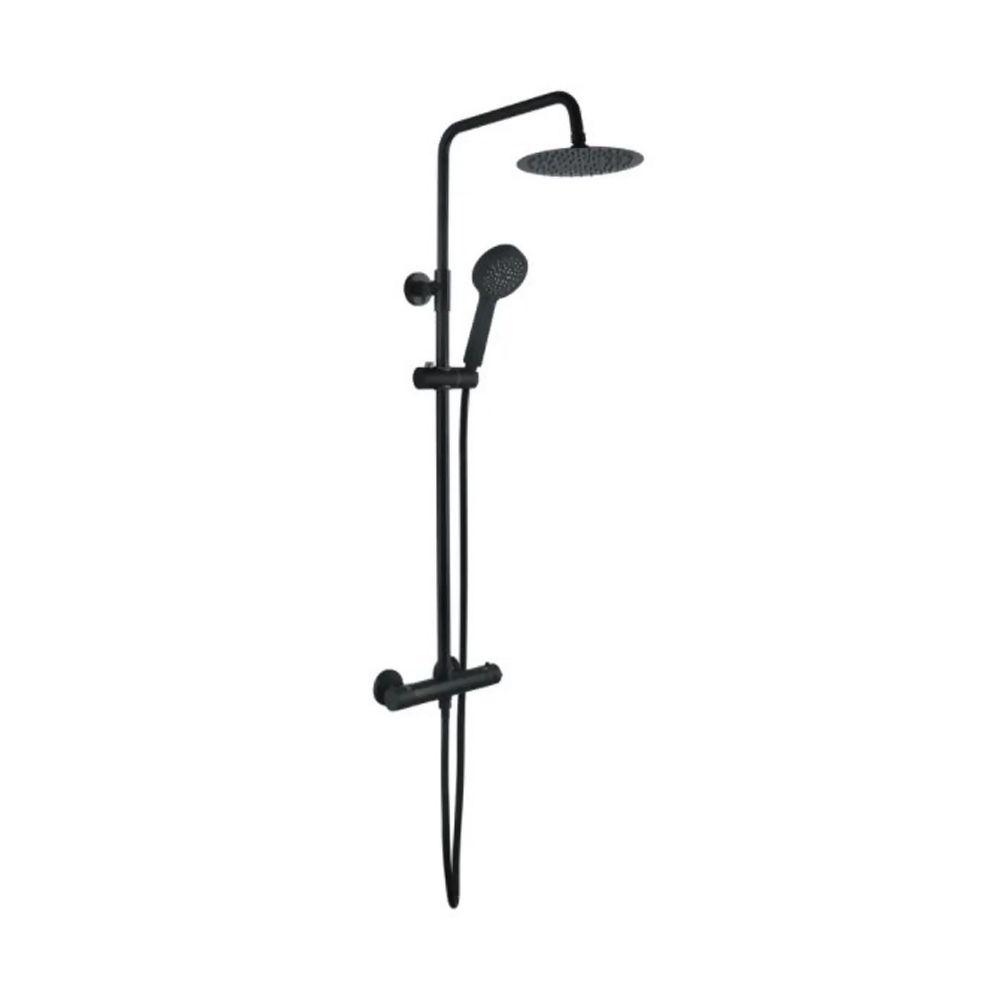 Soho Round *BLACK* Thermostatic Shower c/w Riser & Drench Head Ref GIA-SV103
