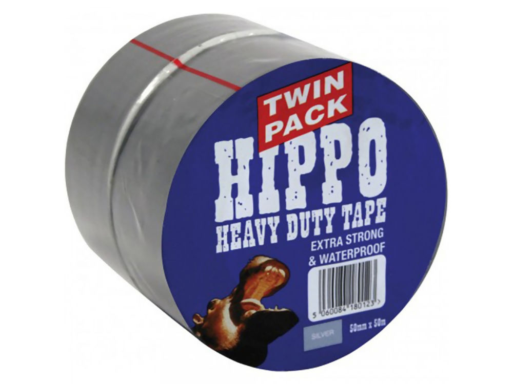 Hippo 50mm Silver Tape Twin Pack 2x50mtr Ref H18200