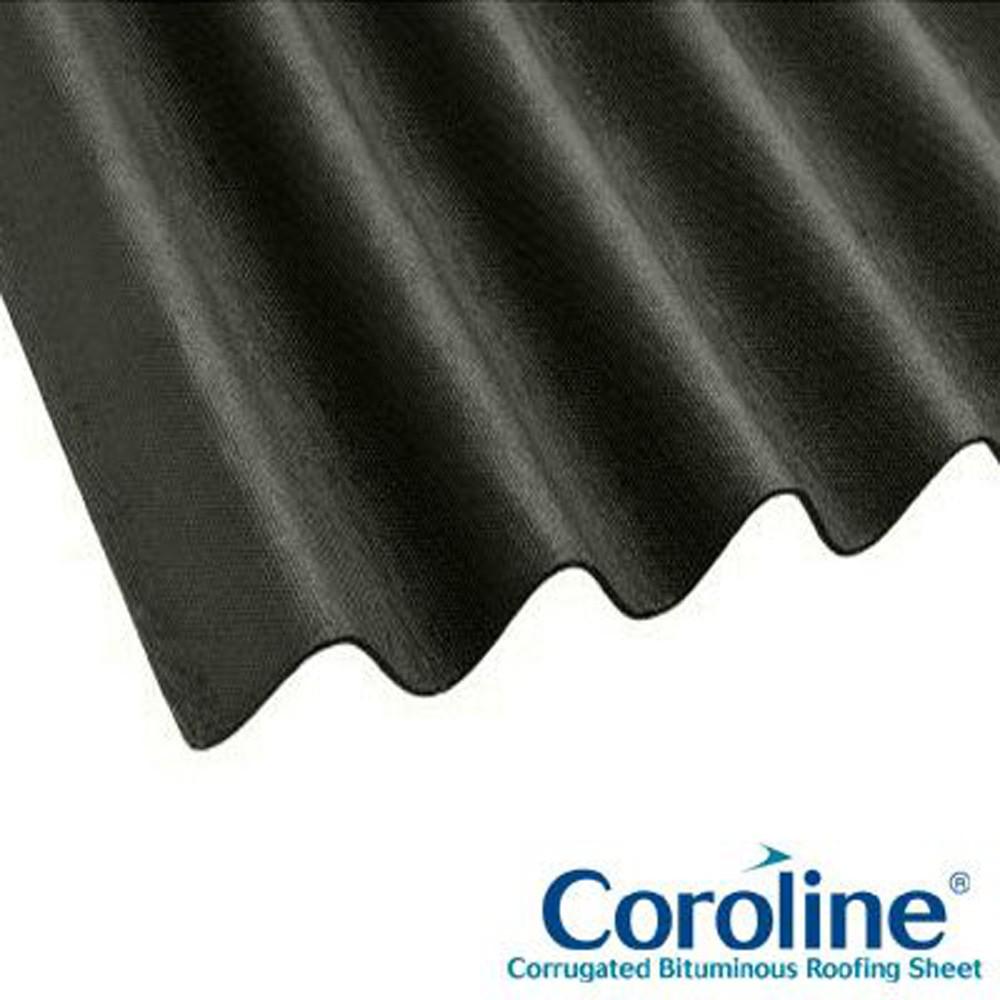 Coroline Corrugated Bitumen Sheet 2mtr X 950mm Black Ref Cbs