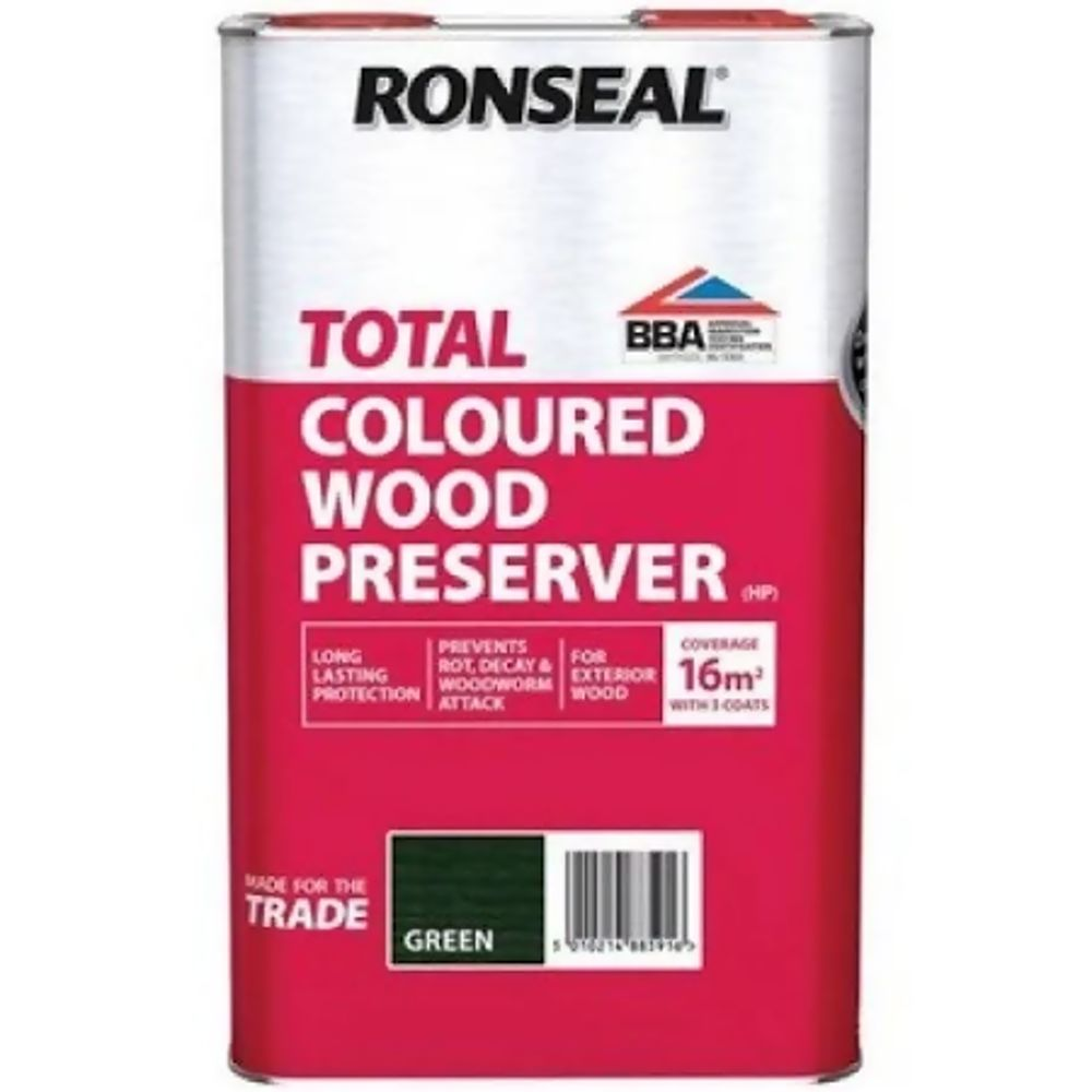 Ronseal Total Dark Green Wood Preserver 5Ltr Ref 38591