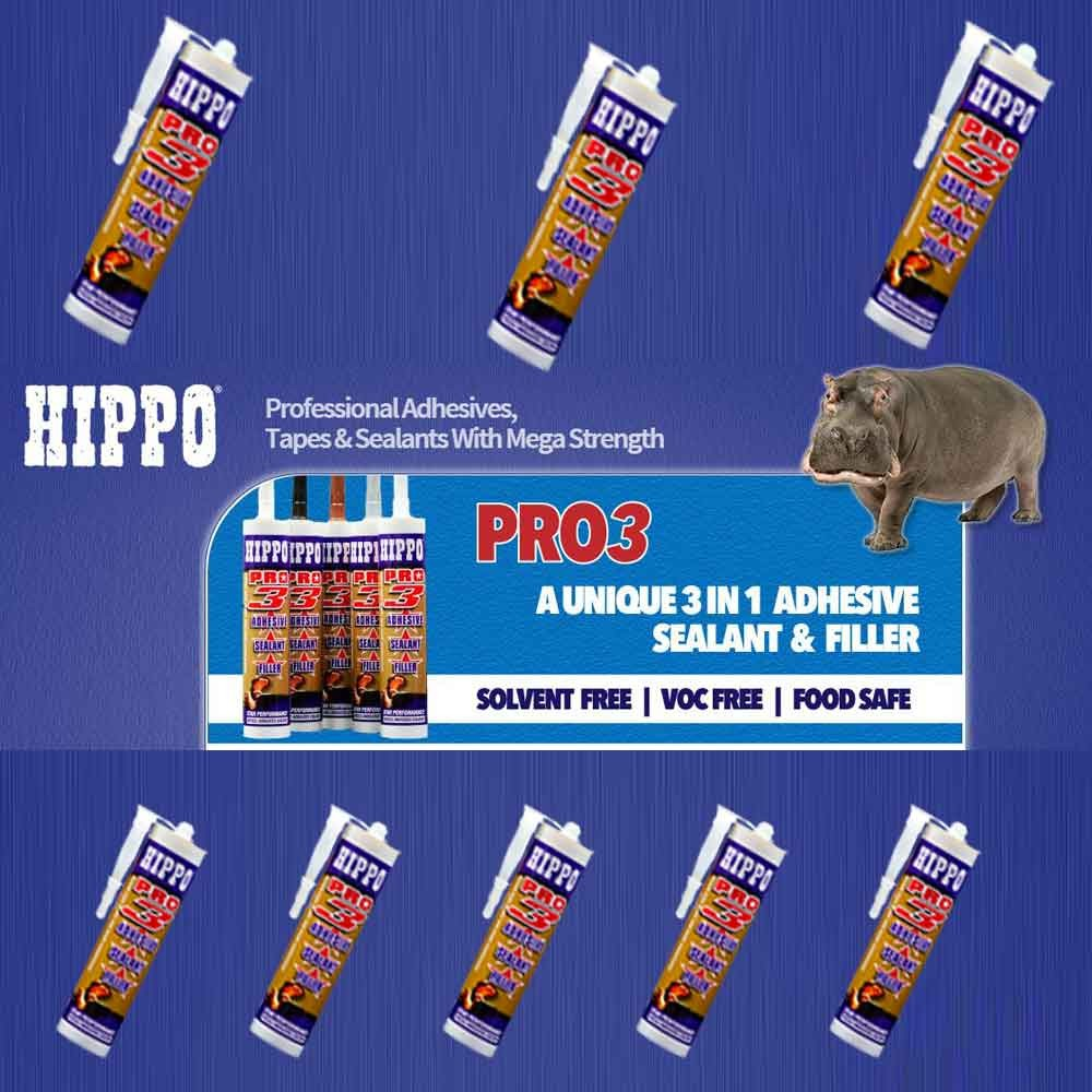 hippo-pro-3-all-weather-sealant-adhesive-filler-clear-290ml-ref-h18511