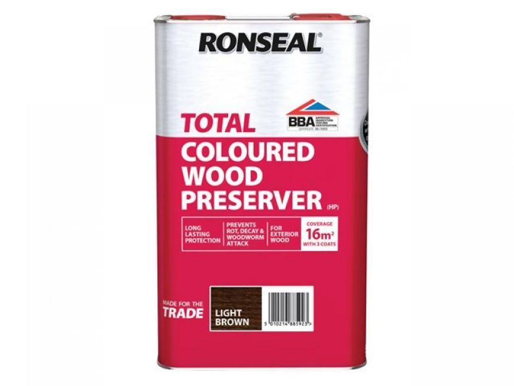 Ronseal Total Light Brown Wood Preserver 5Ltr Ref 38592