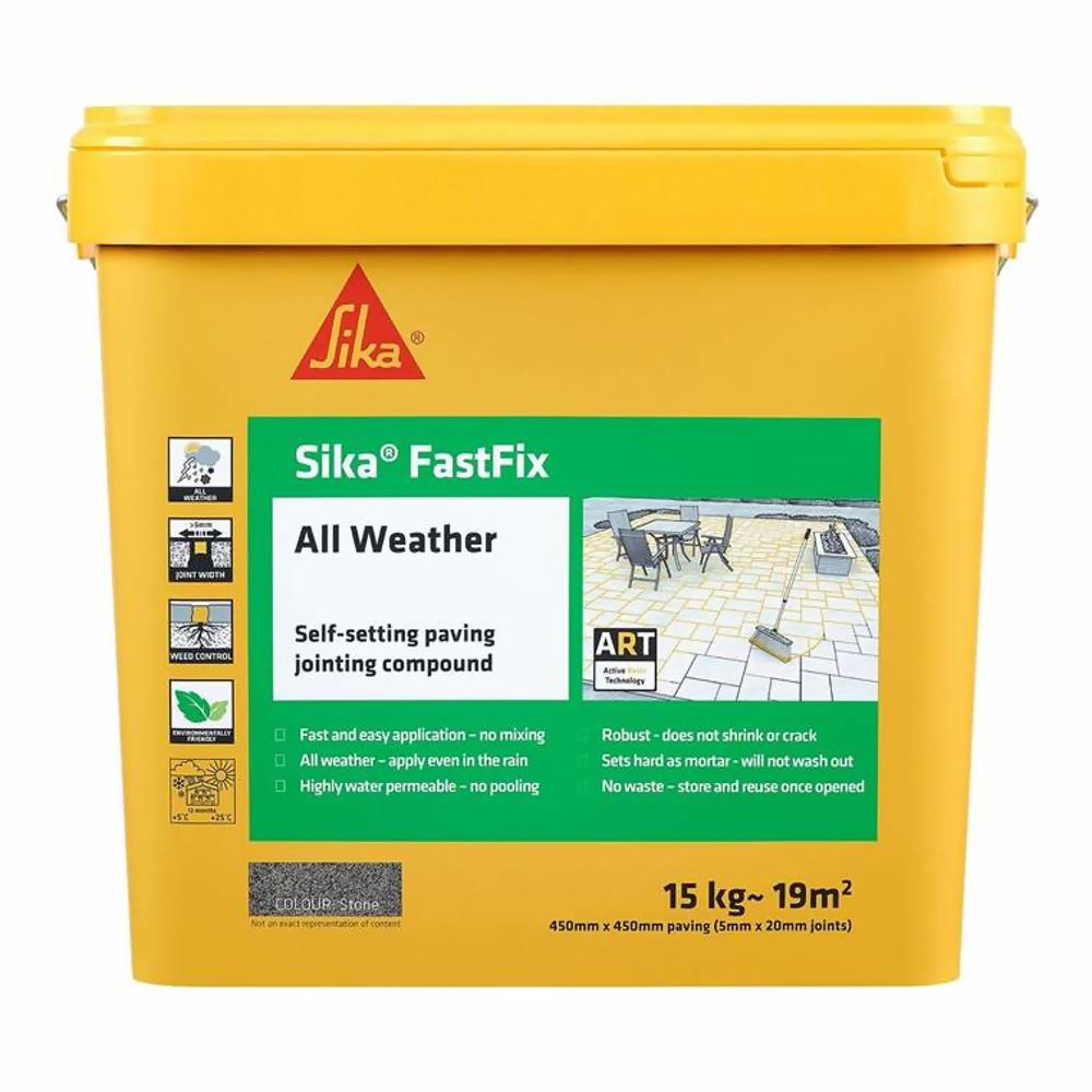Sika Fastfix All Weather Paving Jointing Compound Stone 15Kg Ref SKFFIXSTN16
