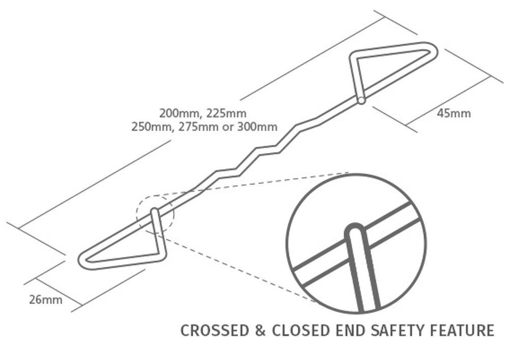 250mm Type 2 Wall Ties Bundle Of 50no Ref TT2250