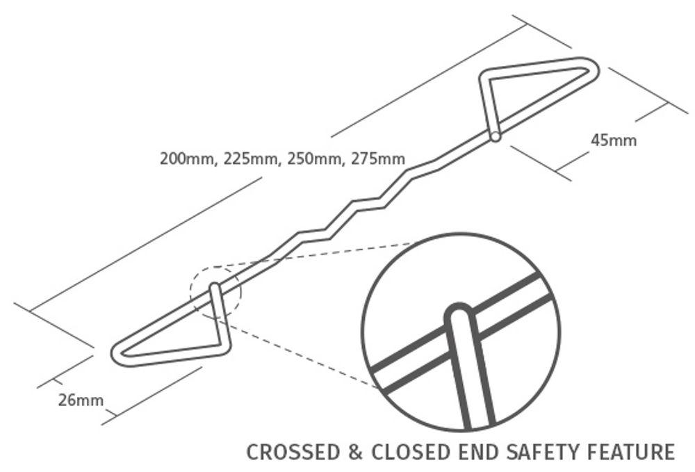 225mm Type 4 Wall Ties Bundle Of 50no Ref TT4225